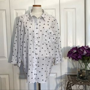 Hummingbird print button-up shirt